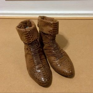 Women's Aldo Python Brown Flat Booties size 5 US